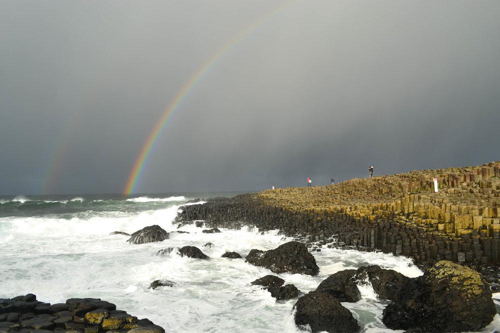 giant's causeway; rainbow; ireland; bri rinehart