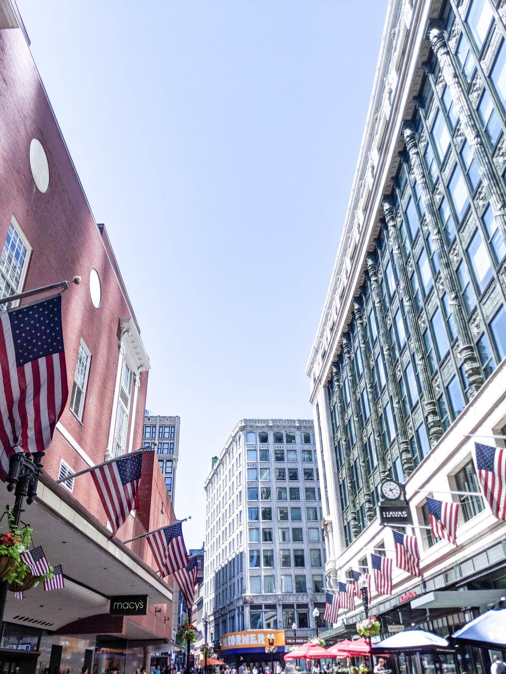 bri rinehart; american flags; boston; photography