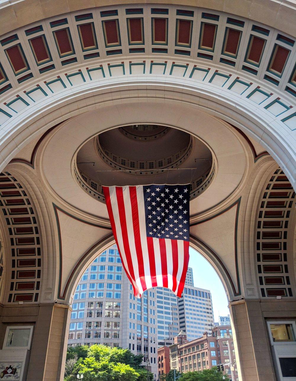 bri rinehart; photography; american flag; boston; rowes wharf