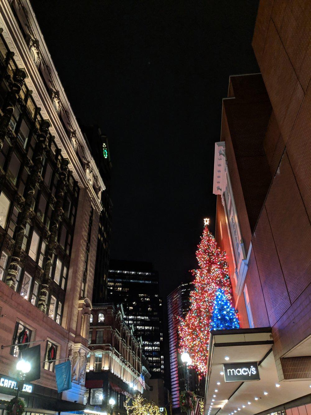 bri rinehart; christmas; lights; photography; boston; macy's