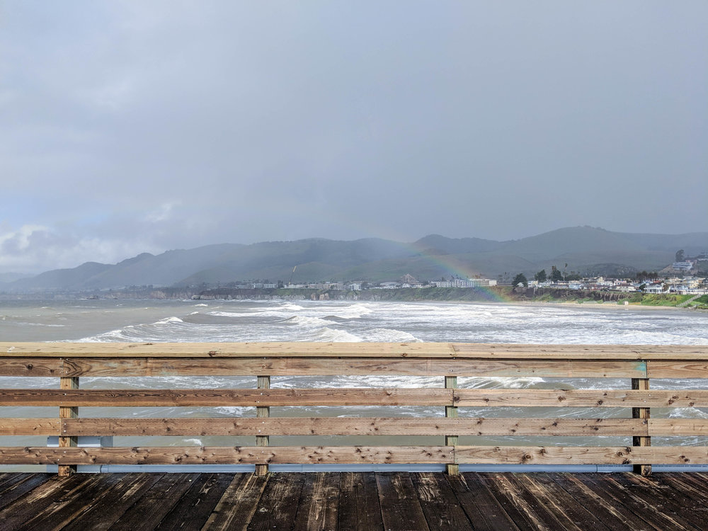 bri rinehart; photography; pismo beach; california; rainbow; ocean; pier