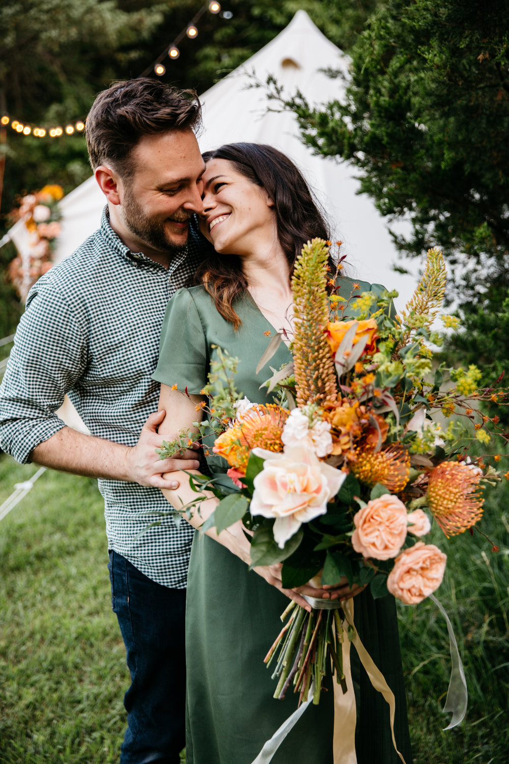 Romantic, Organic Styled Engagement Shoot Designed by Unions With Celia and Adam and Dawn Photography at The Co-Op Venue in Missouri.