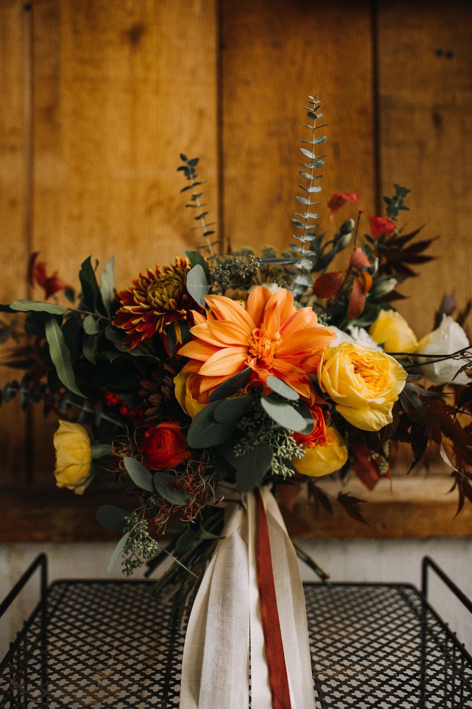 Jessie + Matt |Wild, Organic Autumn Inspired Bouquet from Queen City Blooms | Inner Images Photography