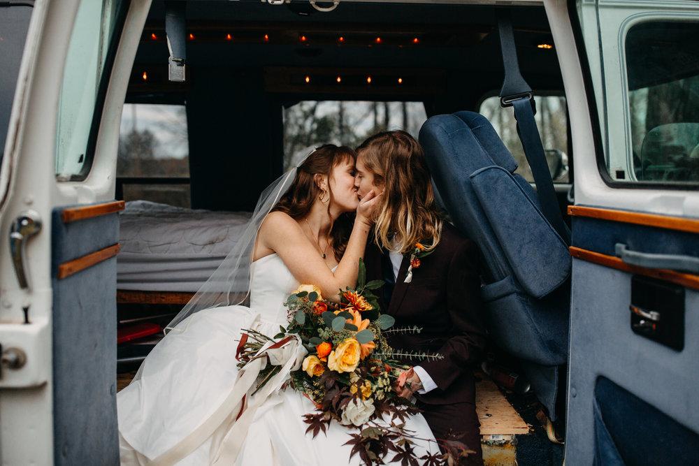 Jessie + Matt Intimate, Autumn Wedding Stealing Kisses In Their Van | Inner Images Photography