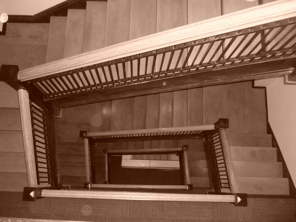 Leader staircase sepia.JPG