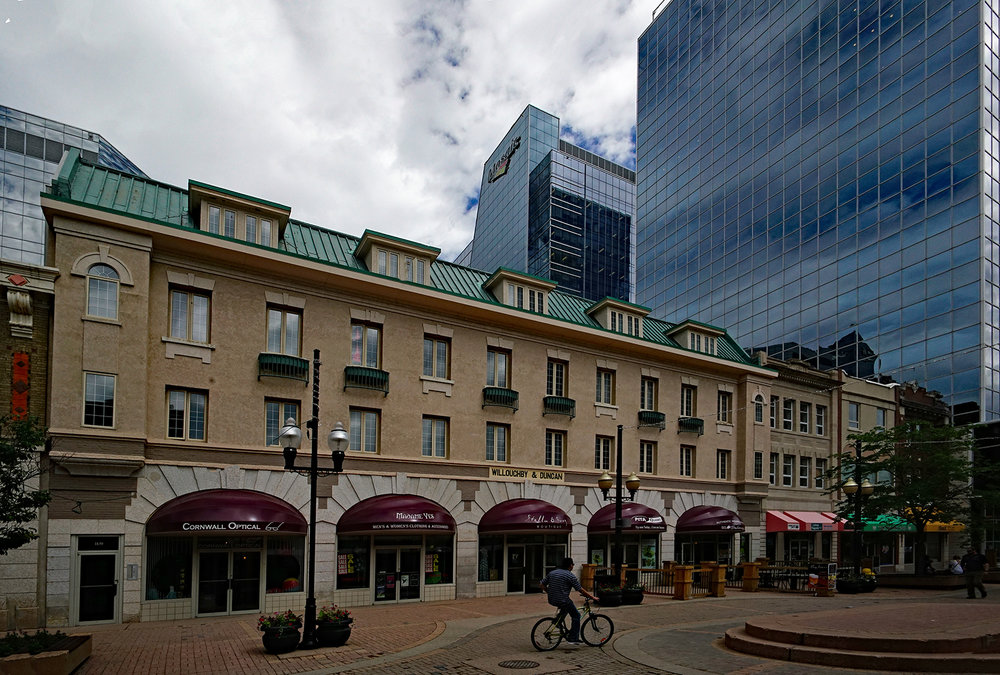 Willoughby & Duncan Building: A Fixture of the Scarth Street Walking Mall.  Nicor initiated construction of the indoor walkway along this stretch of commercial space.  Residential units occupy the upper floors.