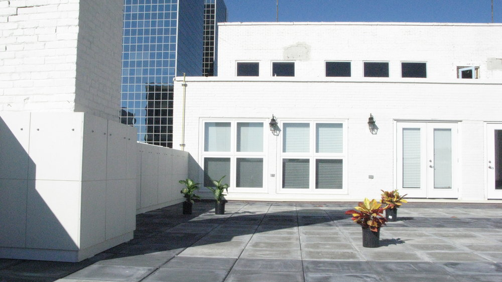 Rooftop patio on the 5th floor of the Leader Building.  This downtown oasis has direct access from two of the residential condos in the building and is available for all commercial and residential tenants.