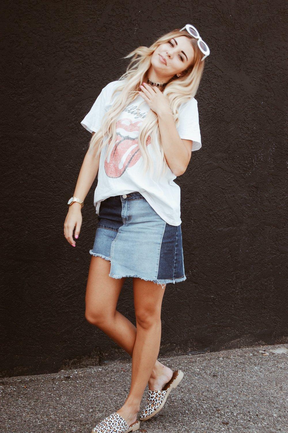 Patchwork Denim Skirt//  BB Styled Boutique
