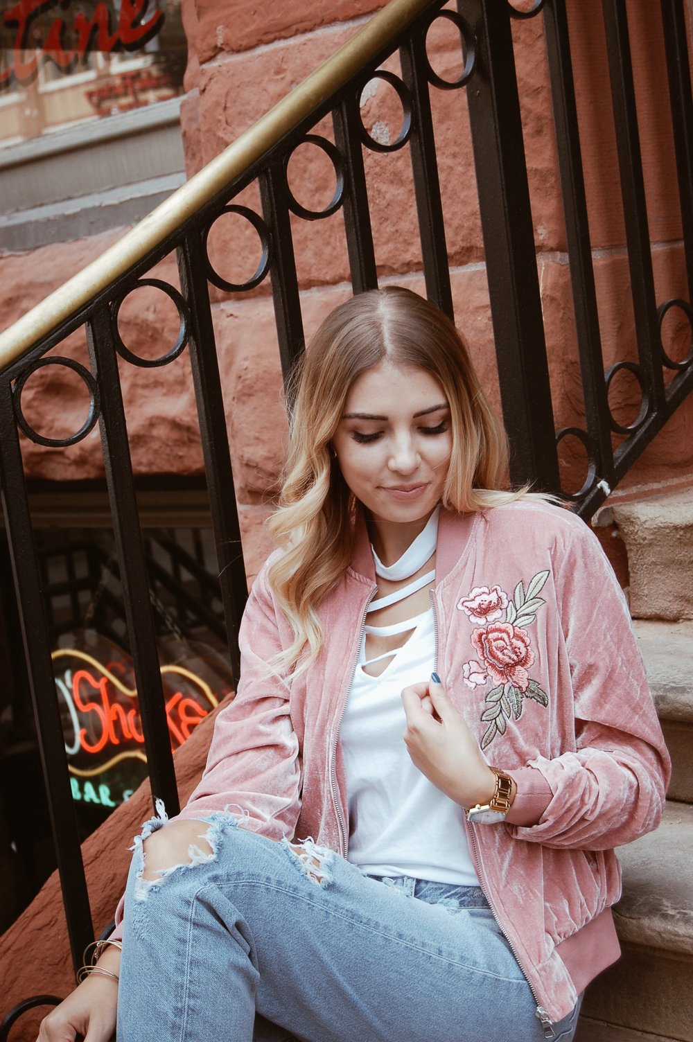 Velvet Floral Embroidered Bomber//  Papaya
