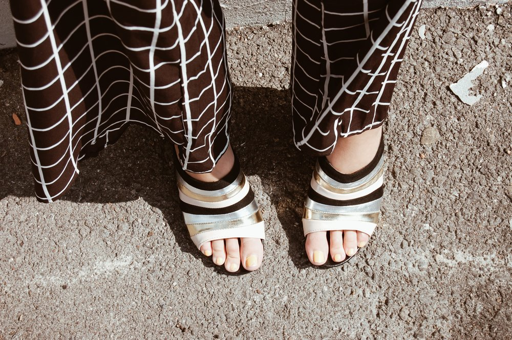 Metallic Striped Mules//  Papaya