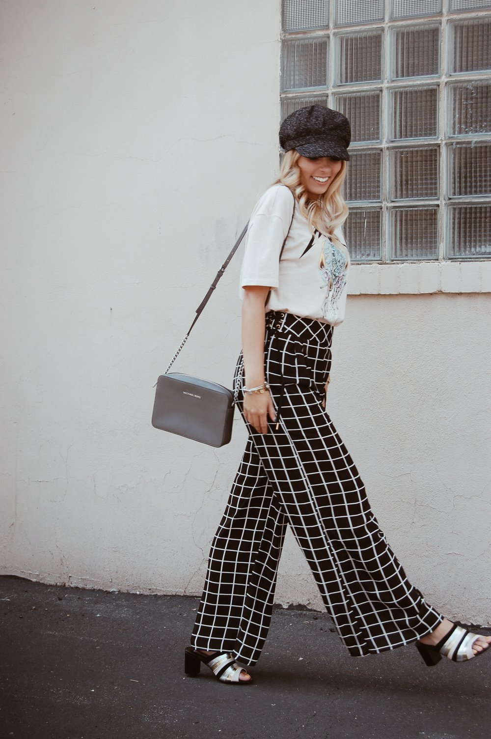 Checkered Palazzo Pants//  Papaya