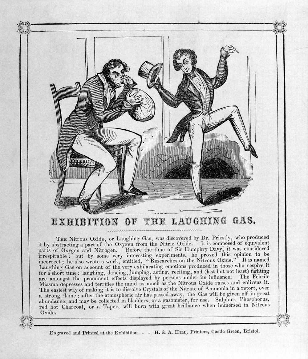 A wooden engraving circa 1840 showing the used of Nitrous Oxide and the method to prepare it.