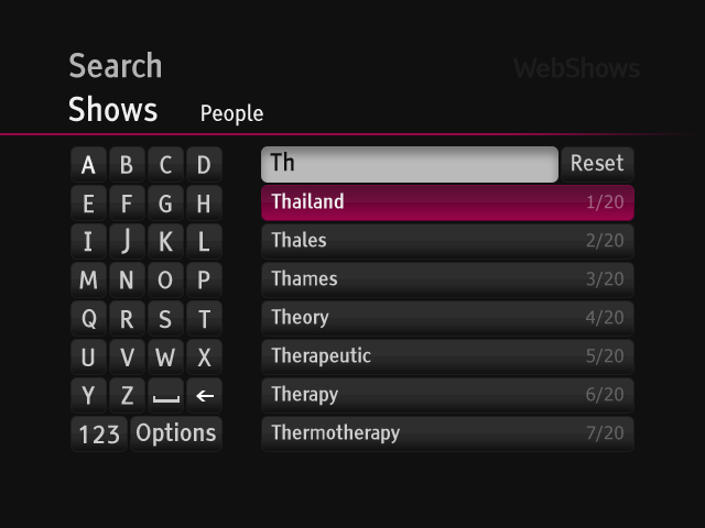 WebShows search keyboard