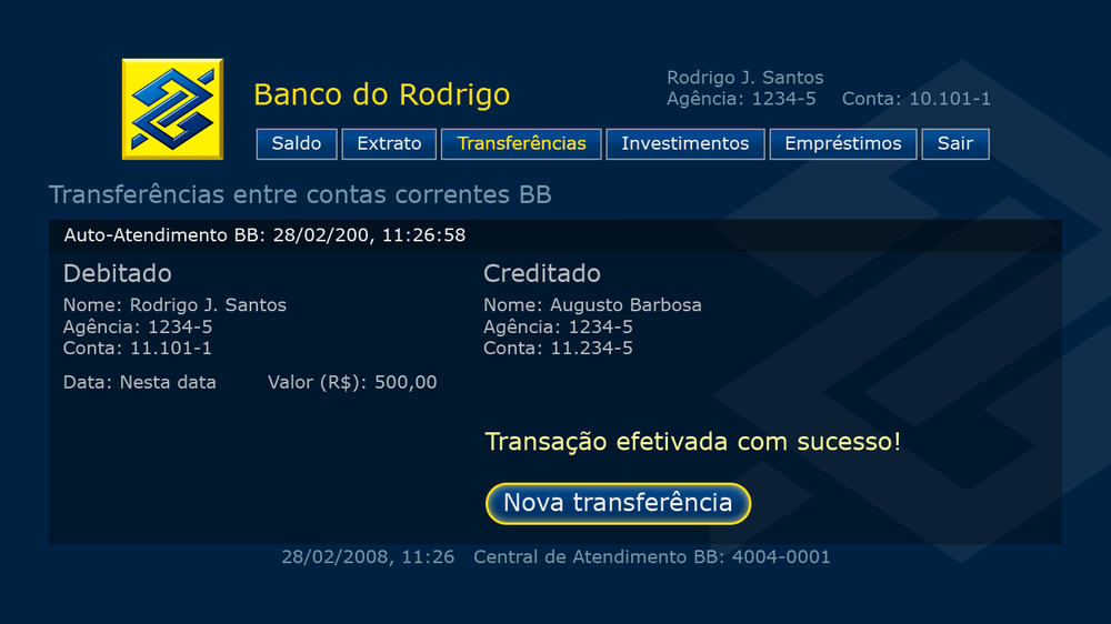 BB Media Center Banking transfer confirmation