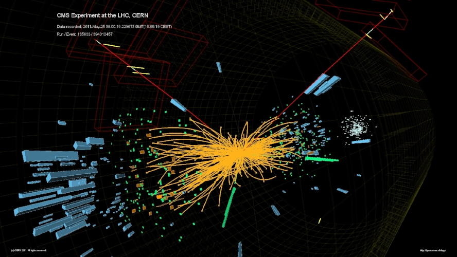 Proton collision at the LHC as recorded by the CMS detector. The debris from the collision reconstructs a Higgs boson decaying into two electrons and two muons. Credit: CMS Collaboration