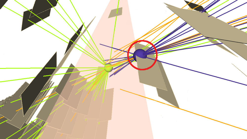 Long-lived particle produced at the proton collision point (green ball), traversing the detector, and decaying at another position (purple ball). Credit: ATLAS collaboration