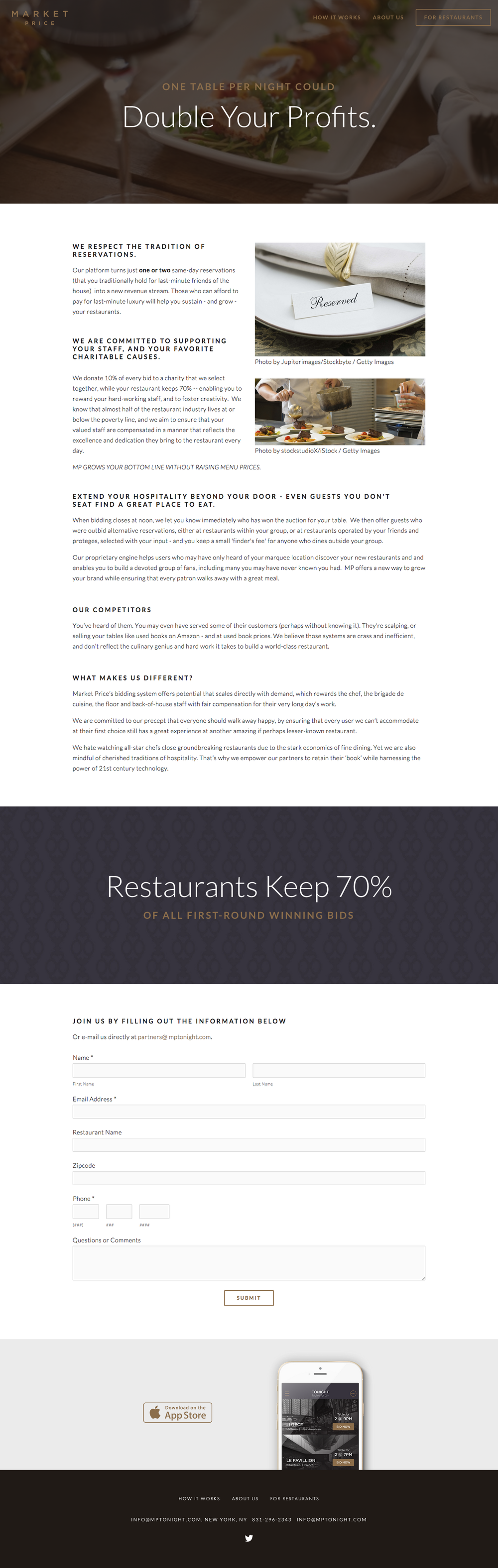 "Promotional website ""For Restaurants"""