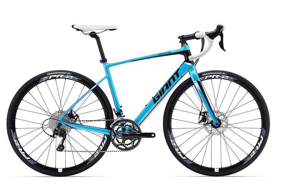 GiantDefy 1 Disc - Sale Price $1,299.99 (Regular Price $1,500.00)Aluminum frame, carbon fork, Shimano 105 2 x 11 speed shifting, mechanical disc brakes, carbon seatpost, Giant PR-2 wheelset.Available Sizes: M/L (~57cm), X-Large