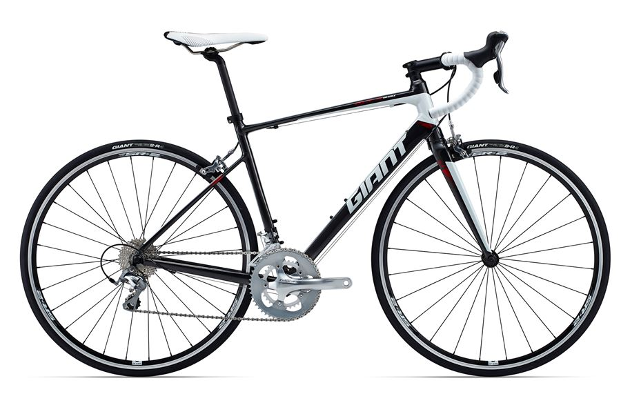 GiantDefy 2 - Sale Price $999.99 (Regular Price $1,150.00)Aluminum frame, carbon fork, Shimano Tiagra 2 x 10 speed shifting, carbon seatpost.Available Sizes: M/L (~57cm)