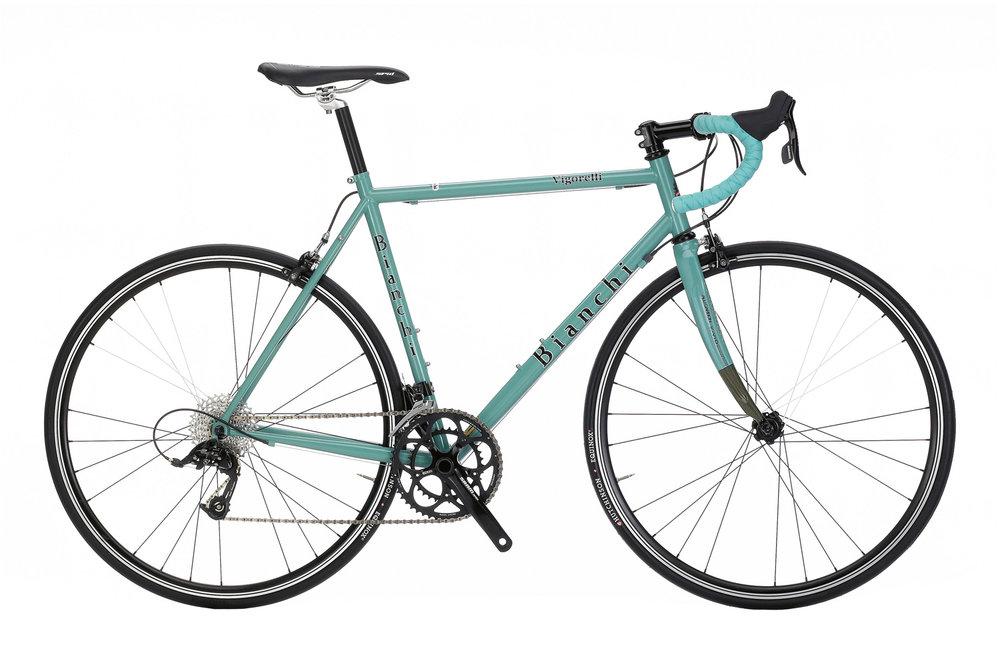 Bianchi Vigorelli Apex - Sale Price $1,399.99 (Regular Price $1,599.99)Reynolds 631 lightweight steel frame, carbon fork, SRAM Apex 2 x 10 speed doubletap shifting.Available Sizes: 51cm