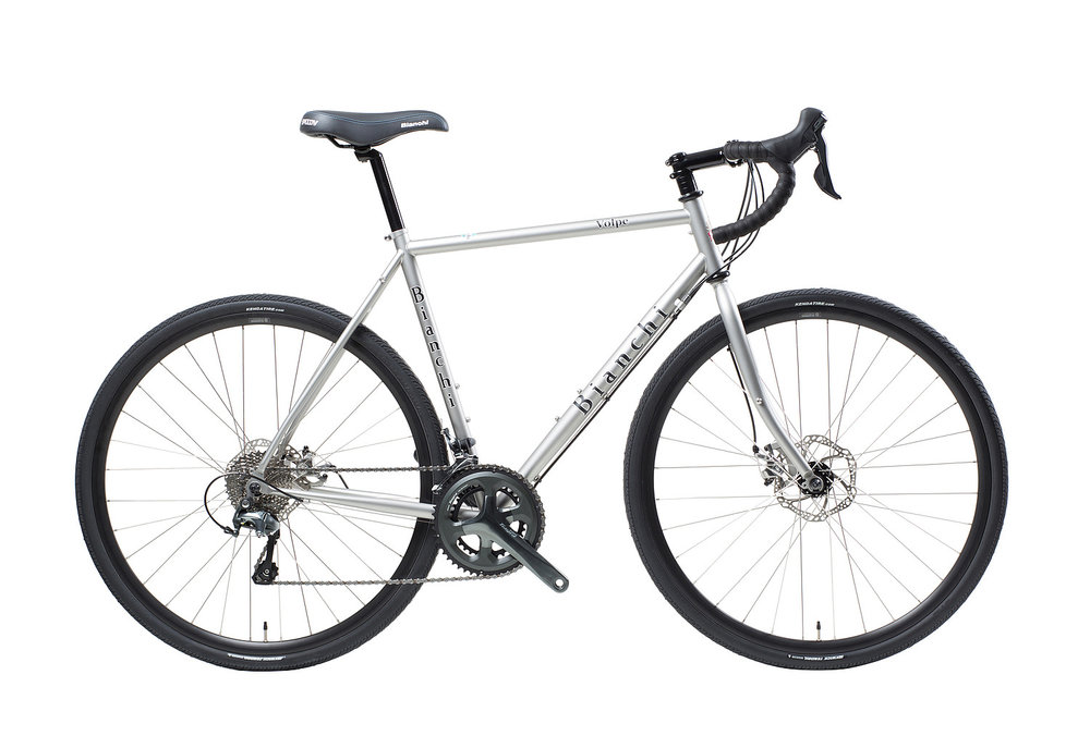 Bianchi Volpe Disc - Sale Price $1,399.99 (Regular Price $1,499.99)Steel frame and fork, Shimano Tiagra 2 x 10 speed shifting, eyelets for front and rear racks, 700 x 35c tires.Available Sizes: 49cm, 55cm, 61cm