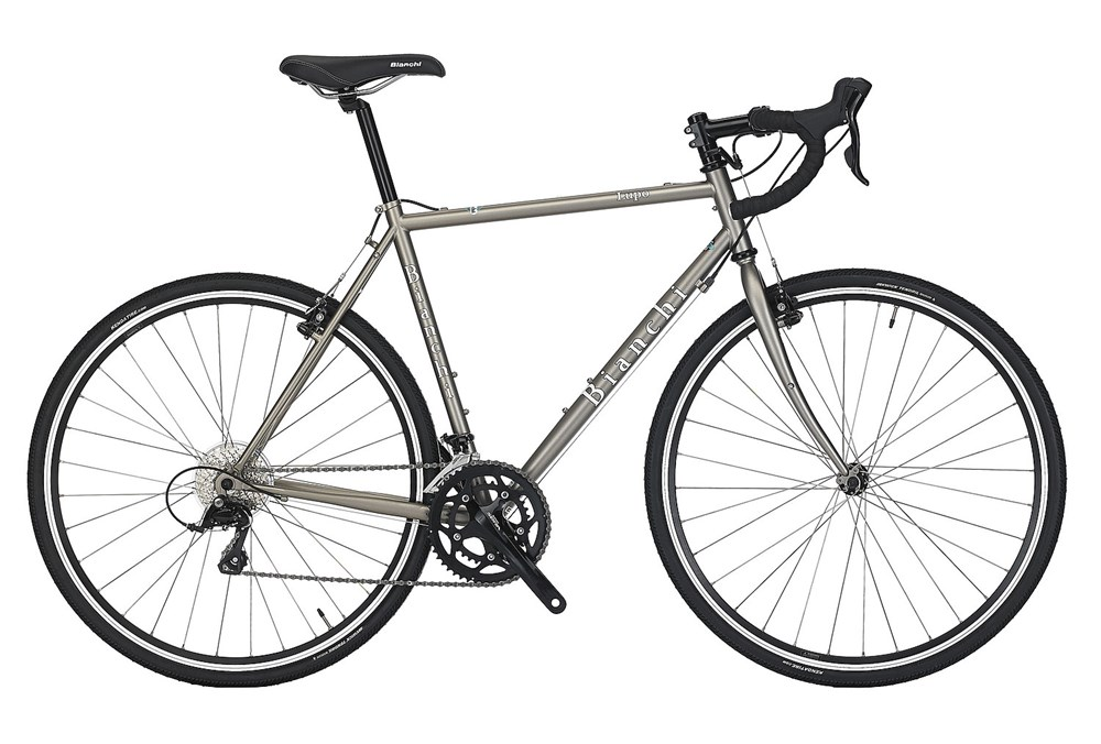 Bianchi Lupo - Sale Price $899.99 (Regular Price $1,049.99)Steel frame and fork, Shimano Sora 3 x 9 speed shifting, eyelets for front and rear racks, 700 x 32c tires.Available Sizes: 49cm, 51cm, 57cm, 59cm