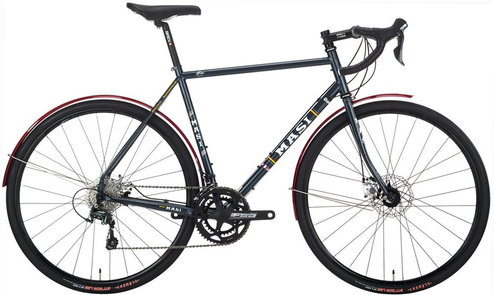 Masi Randonneur - Sale Price $1,199.99 (Regular Price $1,299.99)Steel frame and fork, Shimano Tiagra 2 x 10 speed shifting, fenders included, eyelets for front and rear racks, 700 x 32c tires.Available Sizes: 51cm