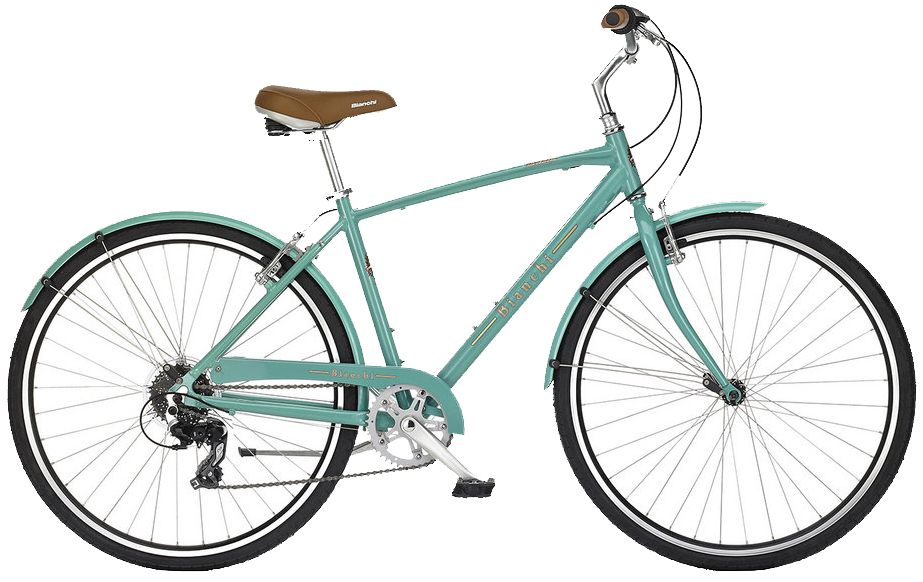 Bianchi Milano - Sale Price $489.99 (Regular Price $530.00)Aluminum frame, steel fork, Shimano 1 x 8 speed twist style shifting, includes matching fenders, chain guard and kickstand.Sizes Available: 41cm