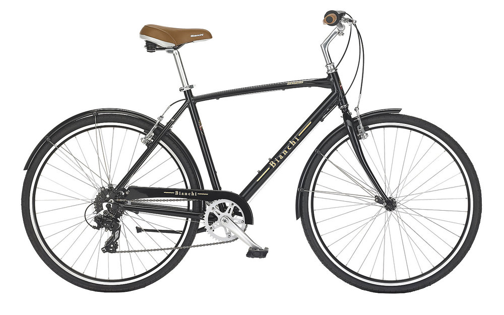 Bianchi Milano - Sale Price $489.99 (Regular Price $530.00)Aluminum frame, steel fork, Shimano 1 x 8 speed twist style shifting, includes matching fenders, chain guard and kickstand.Sizes Available: 47cm