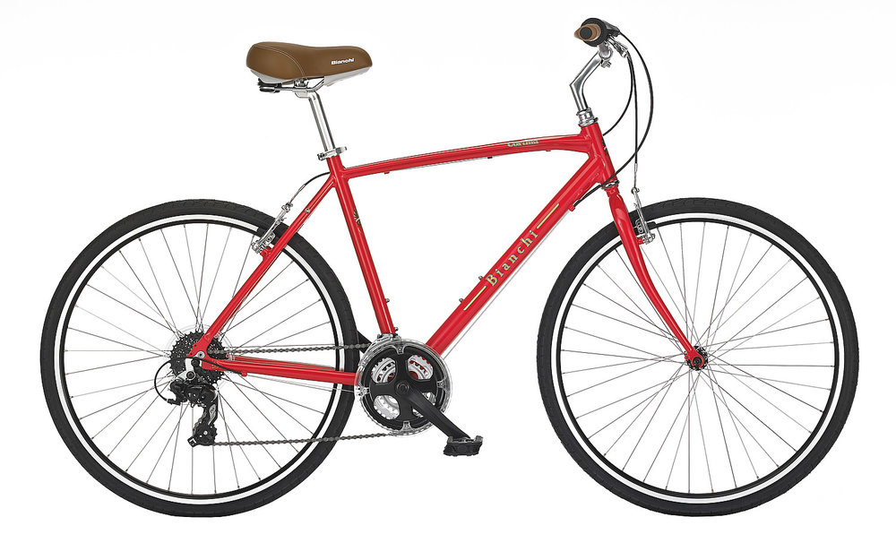 Bianchi Cortina - Sale Price $389.99 (Regular Price $429.99)Aluminum frame, steel fork, Shimano Altus 3 x 8 speed twist style shifting.Sizes Available: 41cm