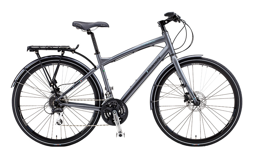 Bianchi Metropoli Gent - Sale Price $599.99 (Regular Price $699.99)Aluminum frame and fork, Shimano Altus 3 x 8 speed trigger style shifting, V-Brakes (differs from image), adjustable stem angle, includes matching fenders and rear rack.Sizes Available: 43cm