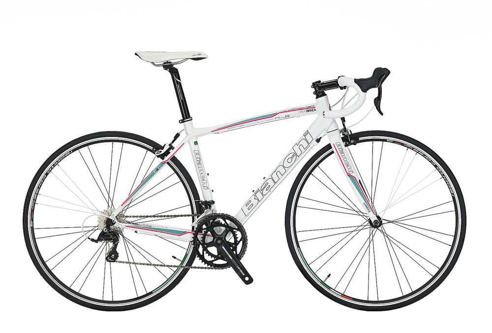 Bianchi Via Nirone Dama Sora - Sale Price $849.99 (Regular Price $969.99)Triple-butted hydroformed aluminum frame, carbon fork, Shimano Sora 2 x 9 speed shifting, Reparto Corse caliper brakes.Available Sizes: 46cm
