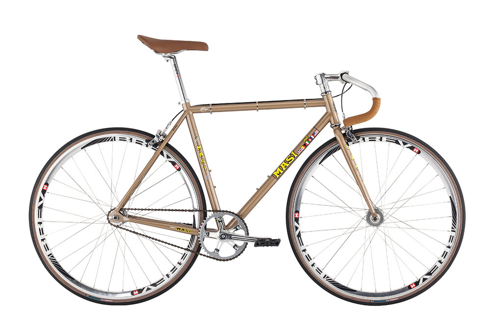 Masi Uno Drop - Sale Price $449.99 (Regular Price $569.99)Chromoly steel frame and fork, Brev M Retro crank (46T chainring), alloy track handlebar, flip/flop rear hub includes 16T fixed cog and freewheel.Available Sizes: 51cm