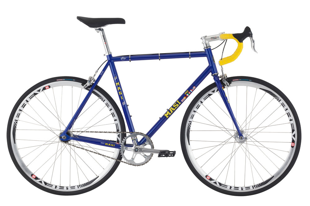 Masi Uno Dop - Sale Price $499.99 (Regular Price $569.99)Chromoly steel frame and fork, Brev M Retro crank (46T chainring), alloy road handlebar, flip/flop rear hub includes 16T fixed cog and freewheel.Available Sizes: 53cm, 56cm