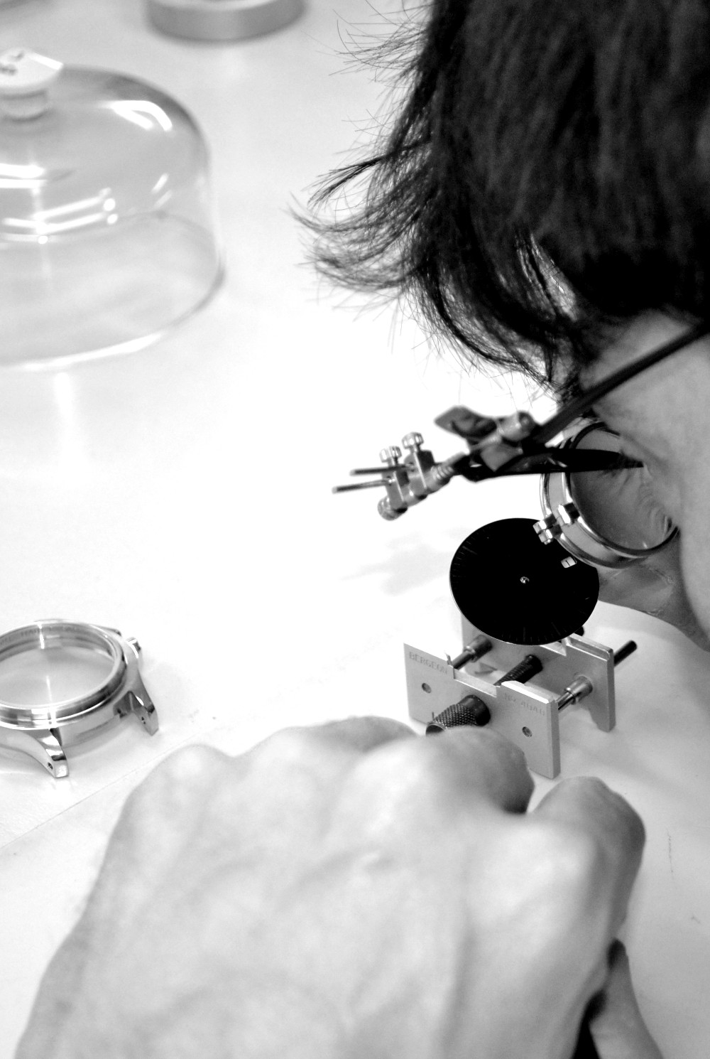 Building your watch: - Pictures show the looks of our watches, but not the thought that goes into their making. Every Harold Pinchbeck watch is assembled by hand in England. We embrace computer aided design, but we also treasure traditional craftsmanship, so our watches are a marriage of both, our approach is a world away from mass production.Your watch is made in a workshop (not a factory), by a skilled craftsman. This work can't be rushed: it's painstaking, requiring good eyesight and steady hands! When he has built up a watch he examines it from every angle before testing it thoroughly, adjusting it as necessary to ensure reliability and accuracy. Eventually, the case will receive its final polish and inspection, and at this stage the handmade strap is fitted. Only then is the watch ready to be placed in its presentation box, ready to be sent to its owner, together with the five year warranty.