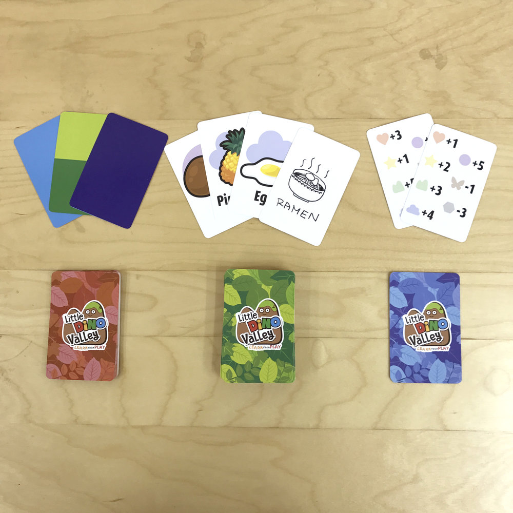[Game Cards] From the left: Activity Cards, Food Cards (includes 6 blank cards for kids' drawing), Score Cards