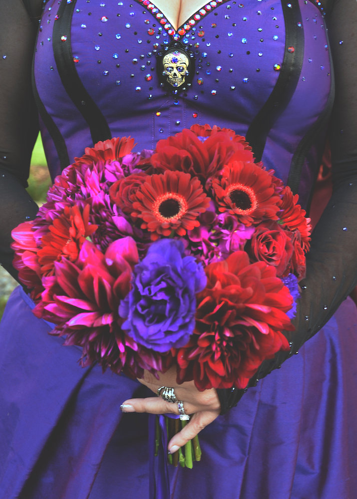 real bride Dark Garden purple goth rock and roll wedding corset dress bouquet.jpg