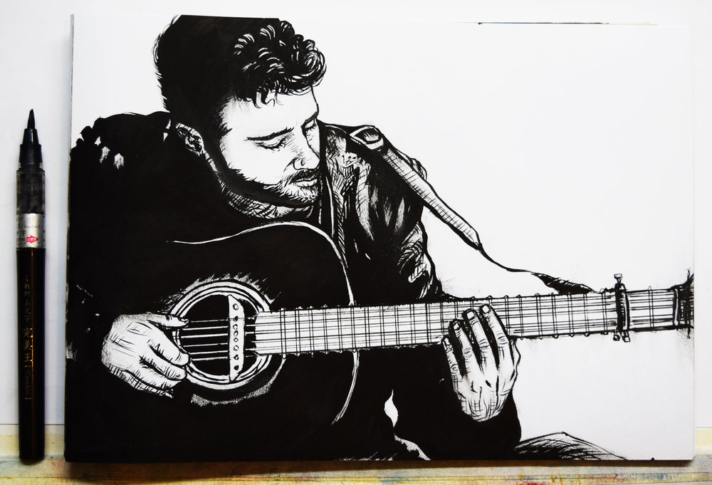 'The Guitarist' - A4 Original Ink Drawing on paper.