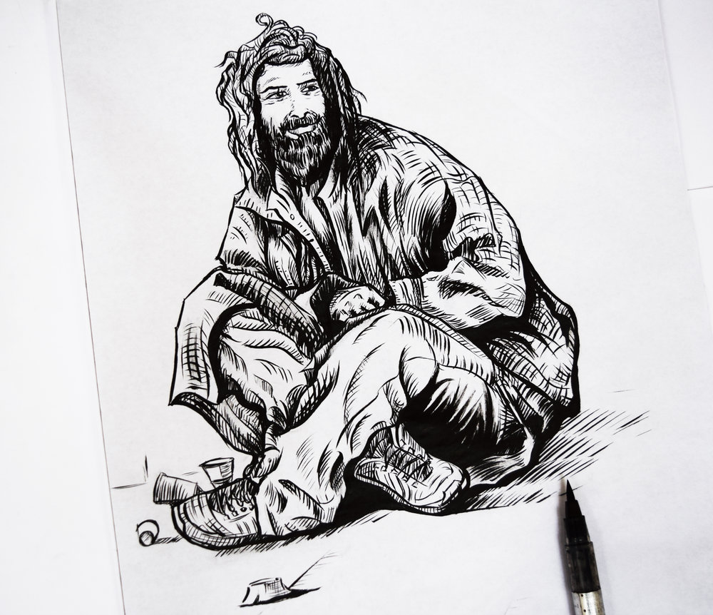 'Homeless? - No Worries' - A4 Original Ink Drawing on paper.