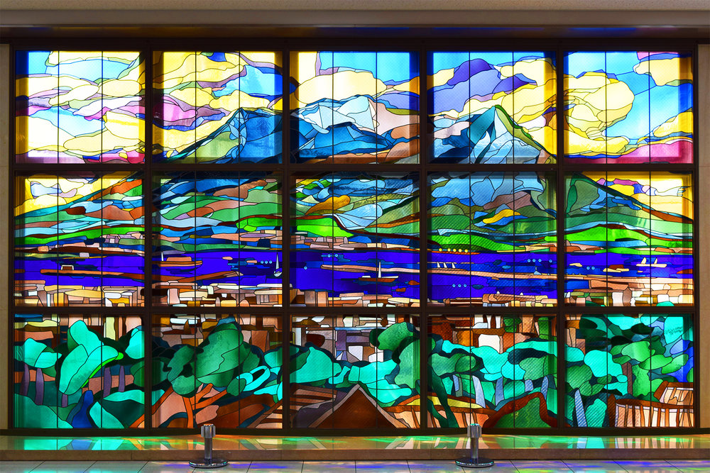 Kagoshima stain glass window art.