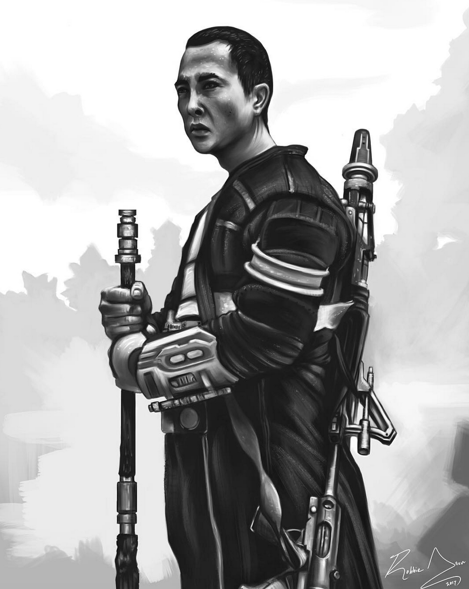 Above image; 'One With The Force' - This is my digital painting realism value study. This is a digital painting study I just finished of the shaolin monk like martial artist character Chirrut Îmwe from the Star Wars film 'Rogue One'.