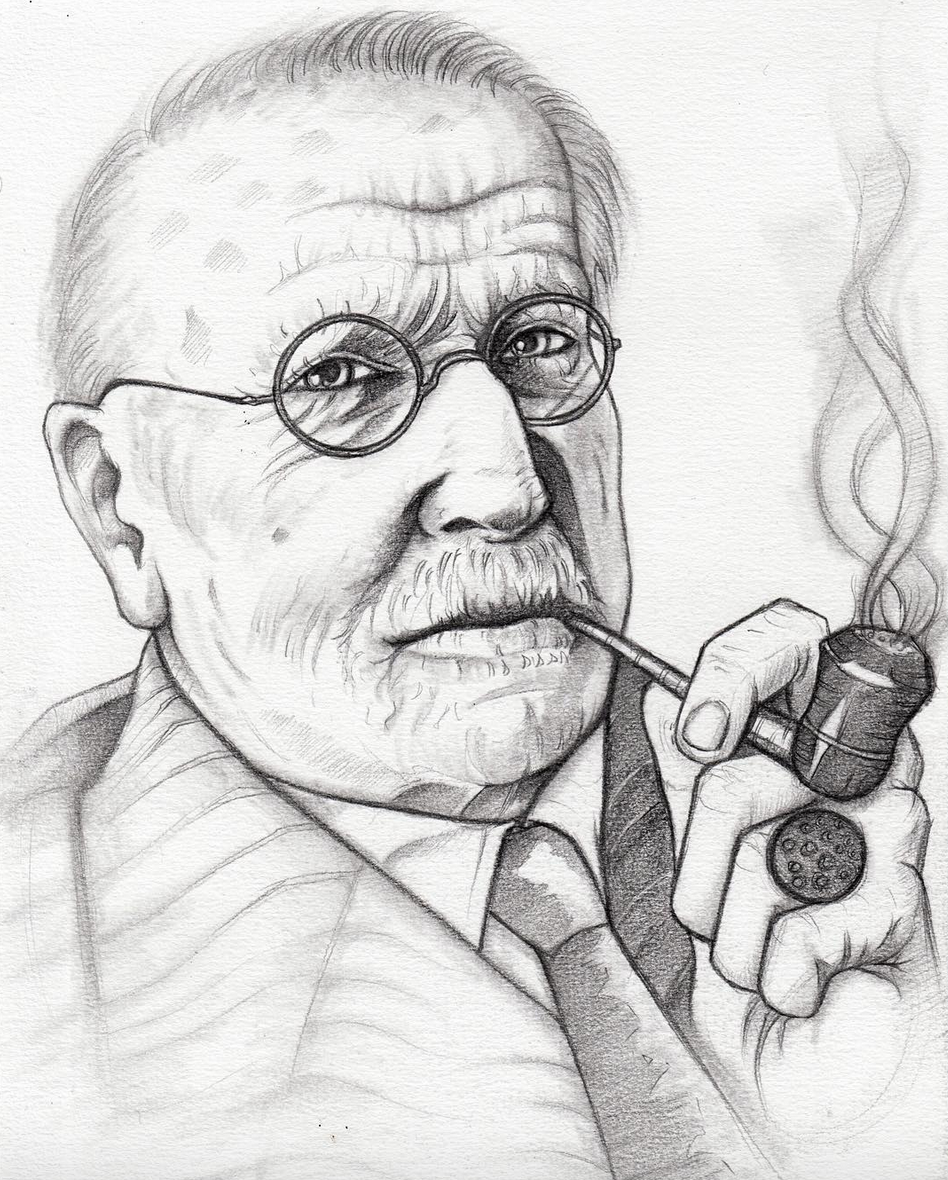 Above image; My pencil drawing of psychologist Carl Jung.