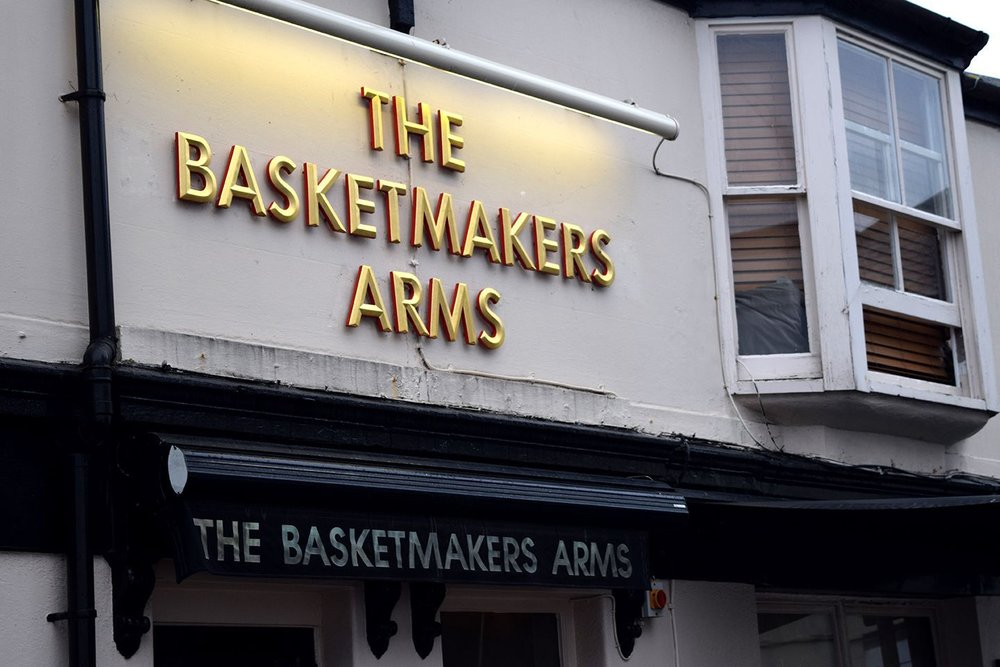 Above image;    The street side view entrance of The Basketmakers Arms.