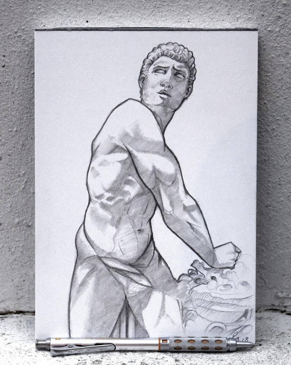 European Marble Sculpture Drawing - Day 3