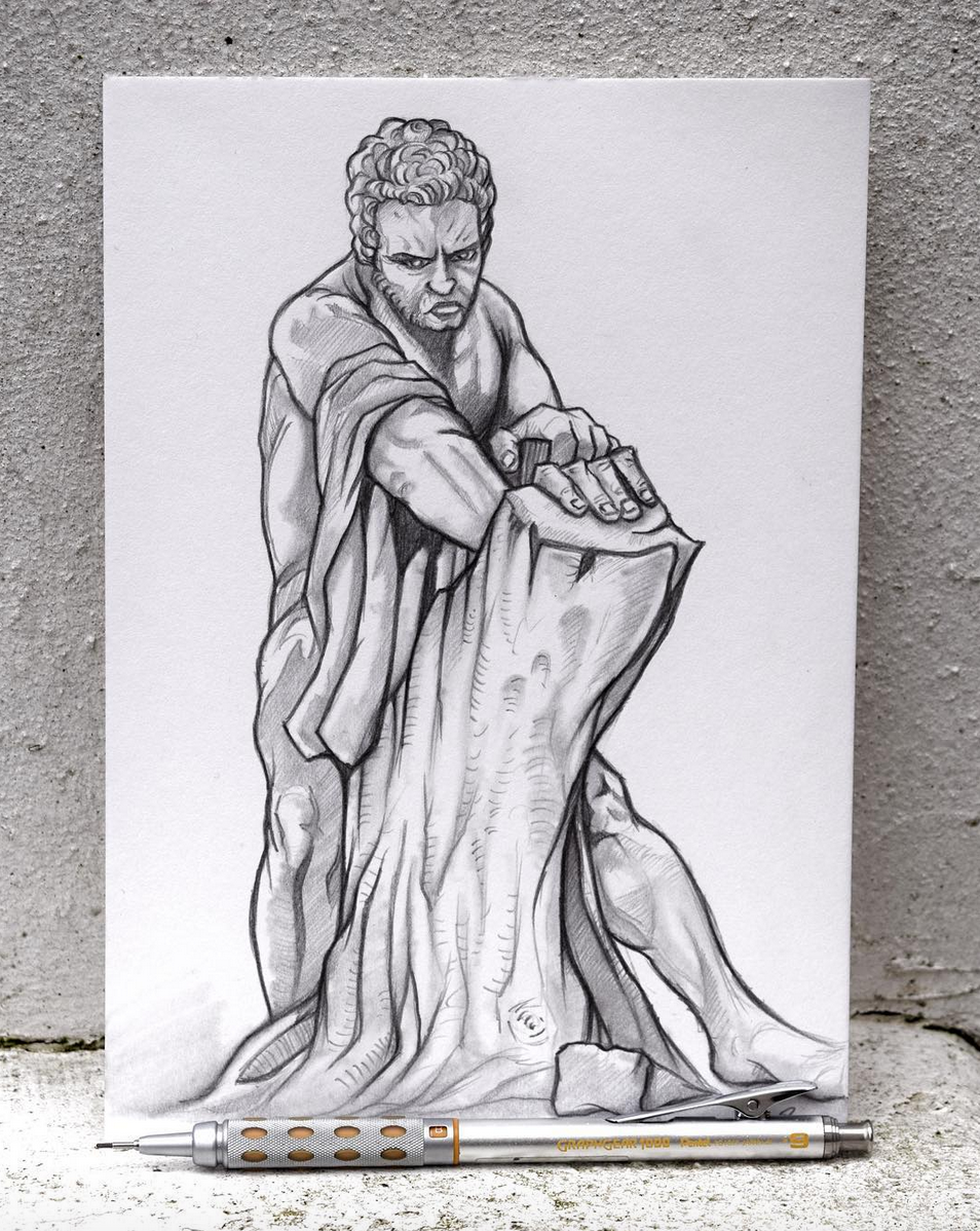 European Marble Sculpture Drawing - Day 4
