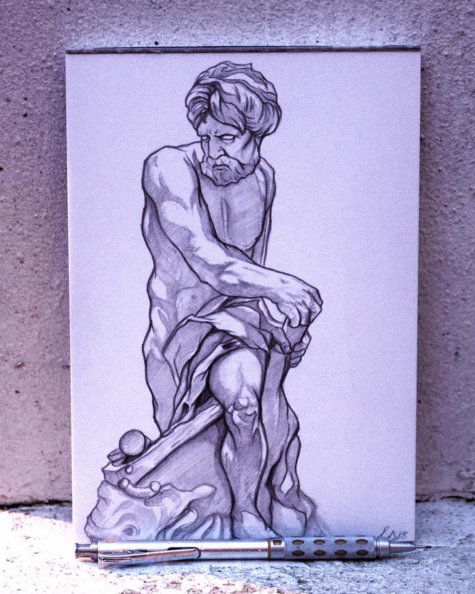 European Marble Sculture Drawing - Day 5