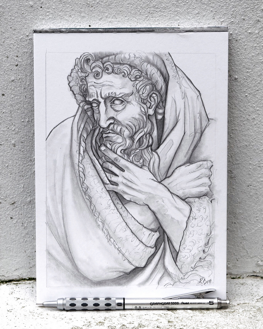European Marble Sculpture Drawing - Day 9