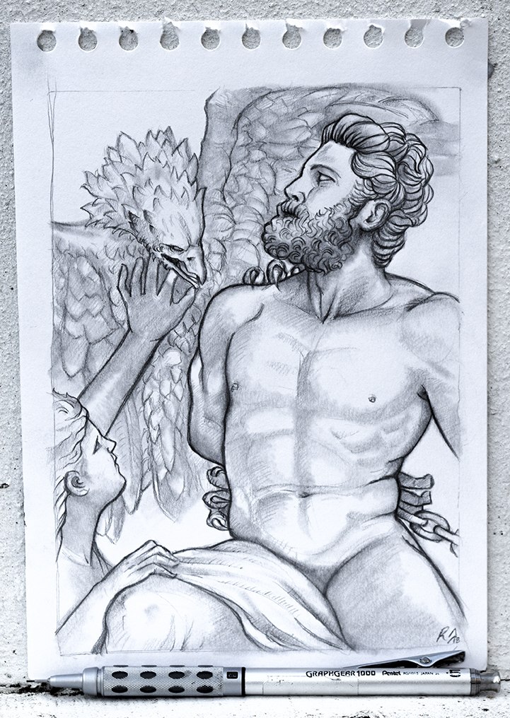 'Prometheus' - Marble Sculpture Drawing