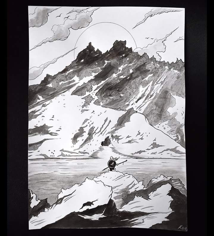 My ink sketch of my warrior character which I started drawing on the bus from Argentina to Chile through the Andes. Inspired by my view outside my window. Fueled by my desire to work on my art even on a bumpy bus ride through the mountains.