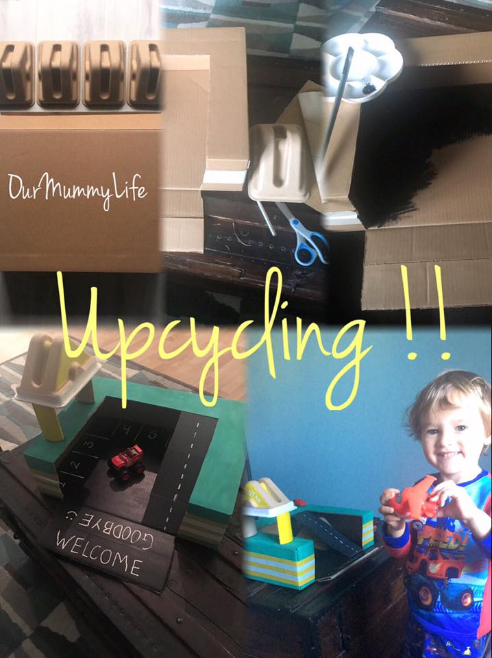 Upcycling is so much fun!  We bought a new computer this weekend (thanks FNAC!) and I instantly made a list of how to use the leftover box. 📒🚗🚕🚙  My son loves car's so I immediately thought....... car garage!  He was already just tossing his cars in the box anyways. 🙄🙄 Materials Needed: *Box cutter/Scissors *Tape *Paint and Brush *White out pen *Glue *Cardboard paper towel roll *Washi tape (added extra)  •Tape the top closed.  •Lay box on its large side and cut the top off. I left a 2 inch border.  •Paint the box with your choice of colors. •Use the portion of cardboard you cut off earlier to form the ramp. (I placed my triangle cardboard piece under the ramp for stability.)  •Glue ramp at the top and bottom. •Cut paper towel roll into 3 pieces.  •Use 2 pieces of the roll and glue onto the triangle cardboard piece, then glue onto top of box. •Once paint is dry, use a white out pen to draw the parking spaces, numbers, road, and welcome sign.  •For additional aesthetics, add colored Washi tape to the outside.  (I used it to cover up the box stickers which couldn't be covered by the paint.)  Enjoy!